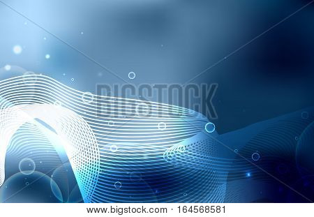 Abstract background with bubbles sparkles lines metamorphosis and blurred background. Vector background for your creativity
