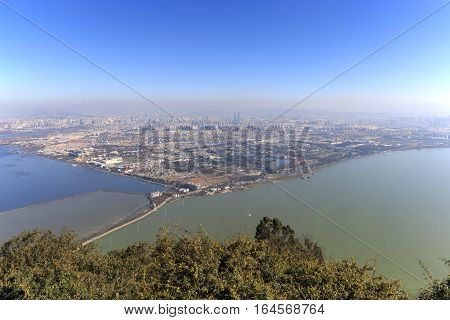 Aerial View Of Kunming, The Capital Of Yunnan Province In Southern China, From Xishan Western Hill