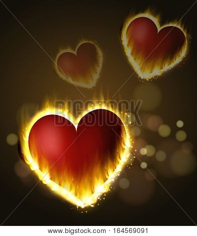 Flame heart s fluing on the dark background pink and red