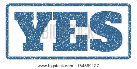 Cobalt Blue rubber seal stamp with Yes text. Vector message inside rounded rectangular shape. Grunge design and dirty texture for watermark labels. Horisontal emblem on a white background.