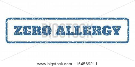 Cobalt Blue rubber seal stamp with Zero Allergy text. Vector tag inside rounded rectangular banner. Grunge design and unclean texture for watermark labels. Horisontal sticker on a white background.