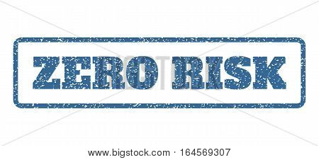 Cobalt Blue rubber seal stamp with Zero Risk text. Vector caption inside rounded rectangular frame. Grunge design and scratched texture for watermark labels. Horisontal sticker on a white background.