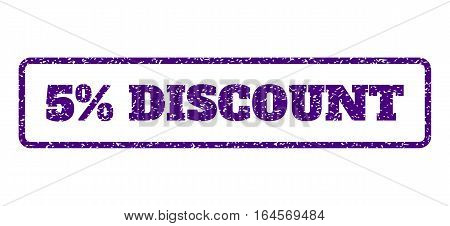 Indigo Blue rubber seal stamp with 5 Percent Discount text. Vector message inside rounded rectangular frame. Grunge design and dirty texture for watermark labels.