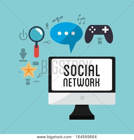 computer social network game chat vector illustration esp 10