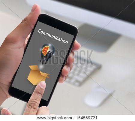 Connection Communication Ideas ,   Communication Connection Social Network Concept , Casual People M