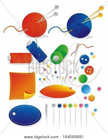 Illustration - sewing kit - thread, needles, knitting needles