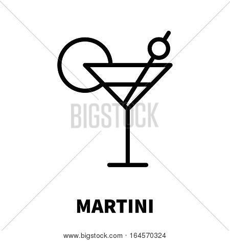 Martini icon or logo in modern line style. High quality black outline pictogram for web site design and mobile apps. Vector illustration on a white background.