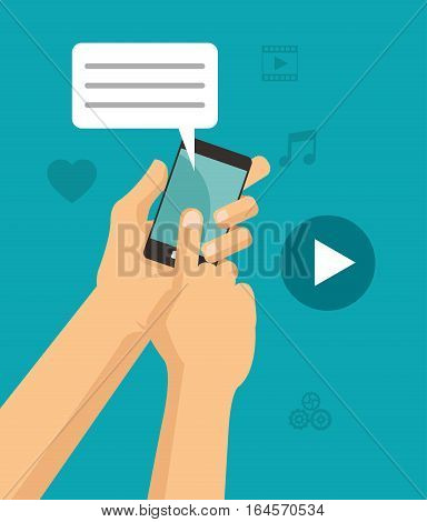 hands touch smartphone chat play video vector illustration eps 10