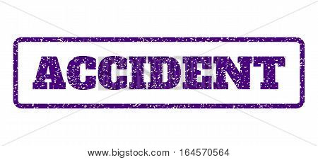 Indigo Blue rubber seal stamp with Accident text. Vector caption inside rounded rectangular frame. Grunge design and unclean texture for watermark labels. Horisontal sign on a white background.