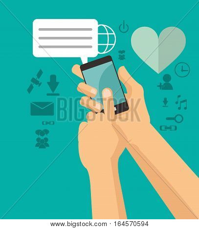 hands holds cellphone sending message chating vector illustration eps 10