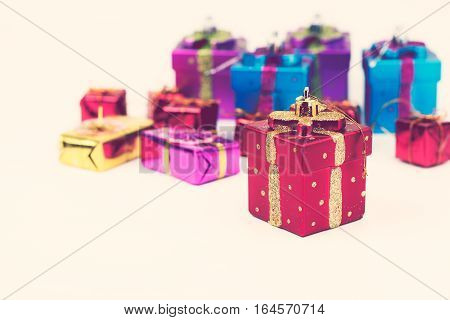 Gift box on white back ground. Retro vintage filter effect.