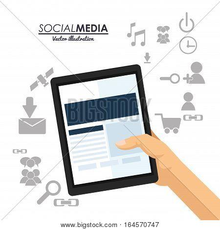 hand hold tablet social media communication vector illustration eps 10