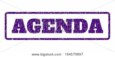 Indigo Blue rubber seal stamp with Agenda text. Vector message inside rounded rectangular shape. Grunge design and scratched texture for watermark labels. Horisontal sign on a white background.