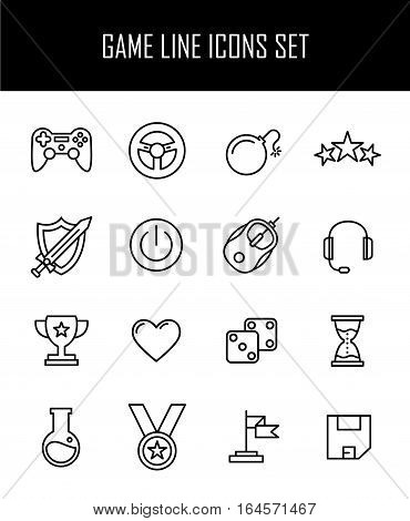 Set of game icons in modern thin line style. High quality black outline gaming symbols for web site design and mobile apps. Simple video game pictograms on a white background.