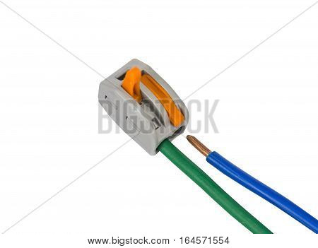 Compact splicing connector with connected wire isolated on white background