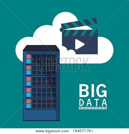 big data cloud video play vector illustration eps 10