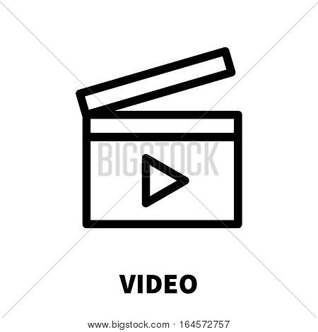 Video icon or logo in modern line style. High quality black outline pictogram for web site design and mobile apps. Vector illustration on a white background.