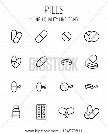 Set of pills icons in modern thin line style. High quality black outline medicine symbols for web site design and mobile apps. Simple linear pills pictograms on a white background.
