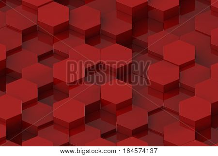 Red Hexagon Metal Background Texture. 3d illustration