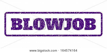 Indigo Blue rubber seal stamp with Blowjob text. Vector message inside rounded rectangular frame. Grunge design and dust texture for watermark labels. Horisontal sign on a white background.