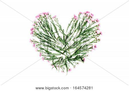 Heart symbol made of pink wildflowers. Flat lay top view. Valentine's background.
