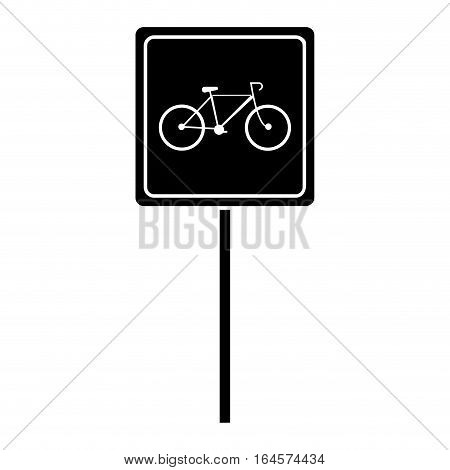 silhouette bycicle road sign parking vector illustration eps 10