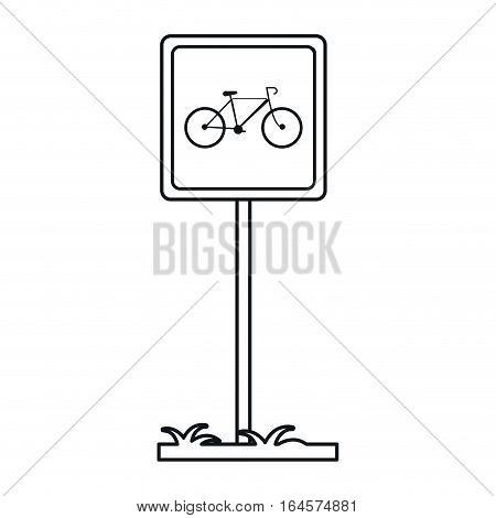 bycicle road sign parking post linear vector illustration eps 10
