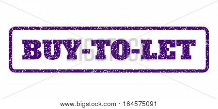 Indigo Blue rubber seal stamp with Buy-To-Let text. Vector caption inside rounded rectangular shape. Grunge design and dust texture for watermark labels. Horisontal emblem on a white background.