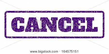 Indigo Blue rubber seal stamp with Cancel text. Vector caption inside rounded rectangular shape. Grunge design and dust texture for watermark labels. Horisontal sign on a white background.