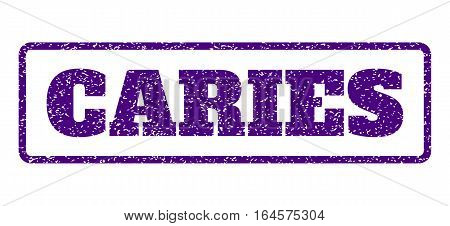 Indigo Blue rubber seal stamp with Caries text. Vector message inside rounded rectangular shape. Grunge design and dust texture for watermark labels. Horisontal sticker on a white background.