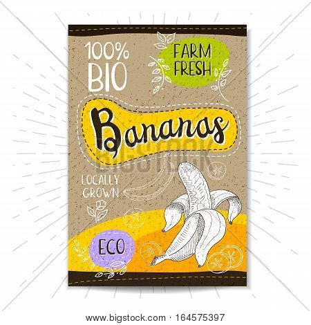 Colorful label in sketch style, food, spices, cardboard textured background. Bananas Fruits. Bio, eco, farm, fresh. locally grown. Hand drawn vector illustration