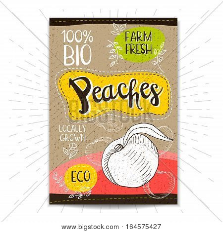Colorful label in sketch style, food, spices, cardboard textured background. Peaches Fruits. Bio, eco, farm, fresh. locally grown. Hand drawn vector illustration