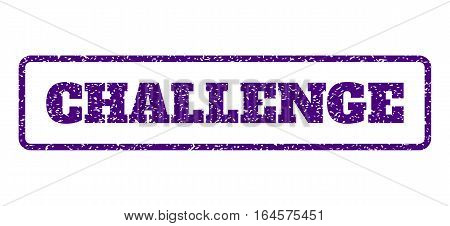 Indigo Blue rubber seal stamp with Challenge text. Vector caption inside rounded rectangular frame. Grunge design and unclean texture for watermark labels. Horisontal sign on a white background.