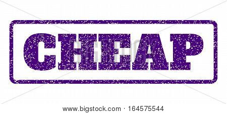 Indigo Blue rubber seal stamp with Cheap text. Vector message inside rounded rectangular banner. Grunge design and dust texture for watermark labels. Horisontal sticker on a white background.