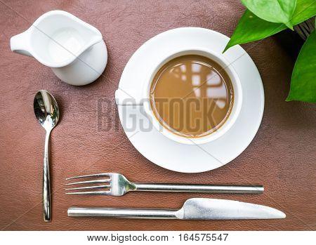 Cup Of Coffee With Culinary Setup