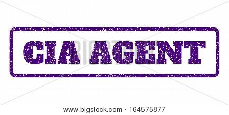 Indigo Blue rubber seal stamp with CIA Agent text. Vector tag inside rounded rectangular frame. Grunge design and unclean texture for watermark labels. Horisontal emblem on a white background.