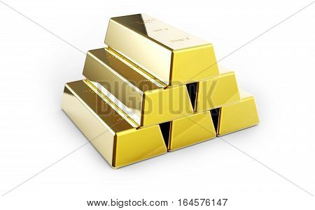 Gold bars isolated on white background 3D rendering