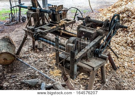 Old Home Made Wood Lathe Machine in Countryside of Thailand
