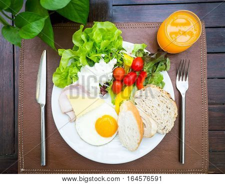 Healthy Breakfast, Salad, Bread, Ham And Egg