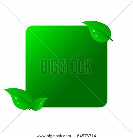 Note with leaves and drops of dew. Label with place for text. Raster version.