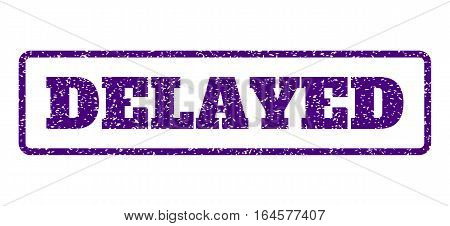 Indigo Blue rubber seal stamp with Delayed text. Vector message inside rounded rectangular banner. Grunge design and scratched texture for watermark labels. Horisontal emblem on a white background.