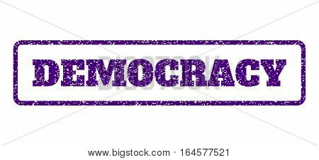 Indigo Blue rubber seal stamp with Democracy text. Vector message inside rounded rectangular banner. Grunge design and scratched texture for watermark labels. Horisontal sticker on a white background.