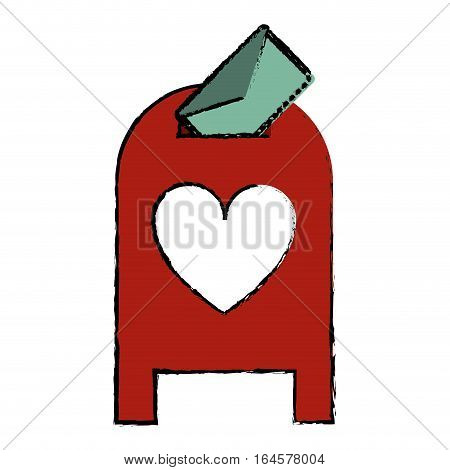 drawing love mail post box message valentine vector illsutration eps 10