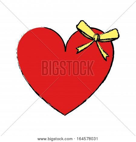 drawing cute love heart passion with bow vector illustration eps 10