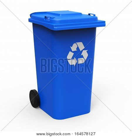 Blue recycle bin isolated on white background 3D rendering