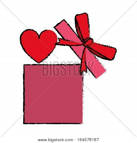 drawing love gift box bow wrapped vector illustration eps 10