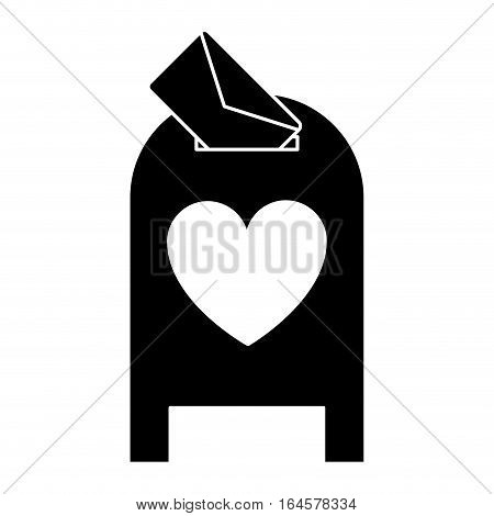 silhouette love mail post box message valentine vector illsutration eps 10