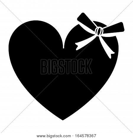 silhouette cute love heart passion with bow vector illustration eps 10
