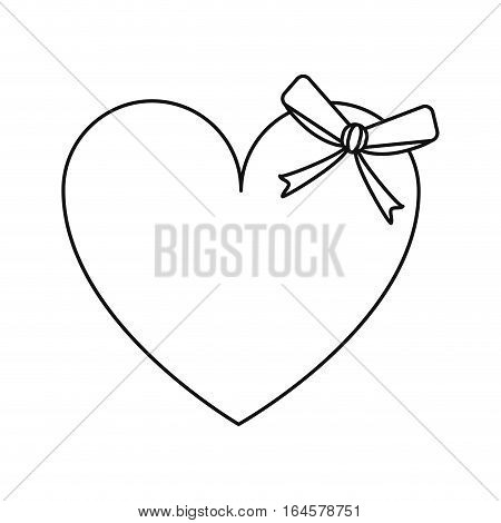 cute love heart passion with bow line vector illustration eps 10