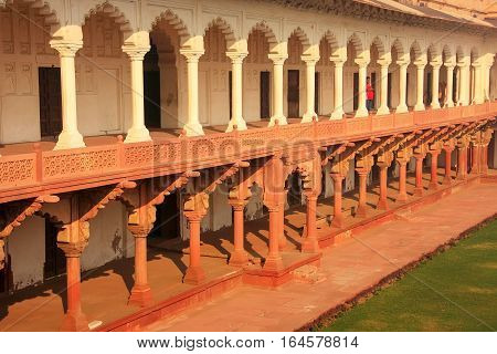 Agra, India - January 29: Colonnade Walkway Leading To Diwan-i- Khas (hall Of Private Audience)  In